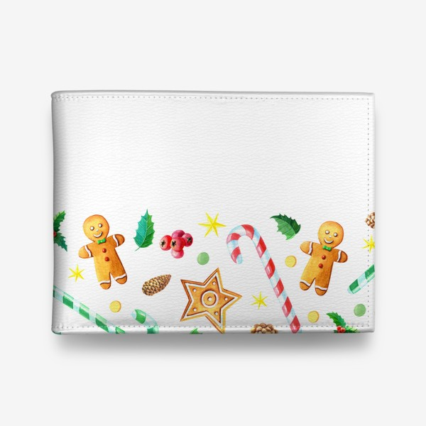 Кошелек «Бордюр с имбирным печеньем,конфетами и шишками.»