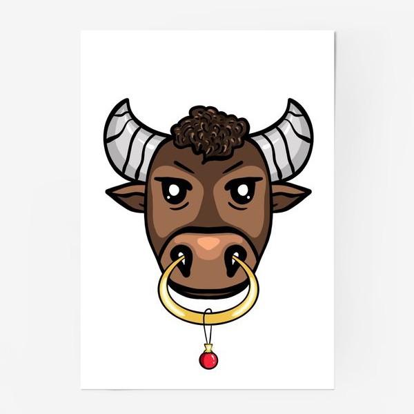 Постер «Бык с елочной игрушкой »