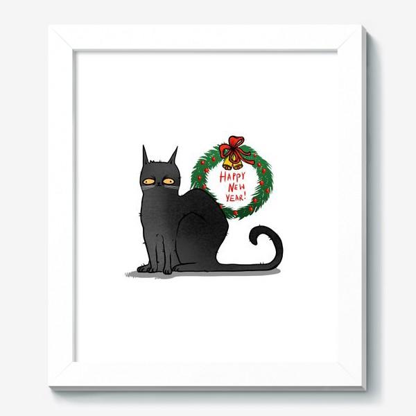 Картина «Чёрный кот с рождественским венком »