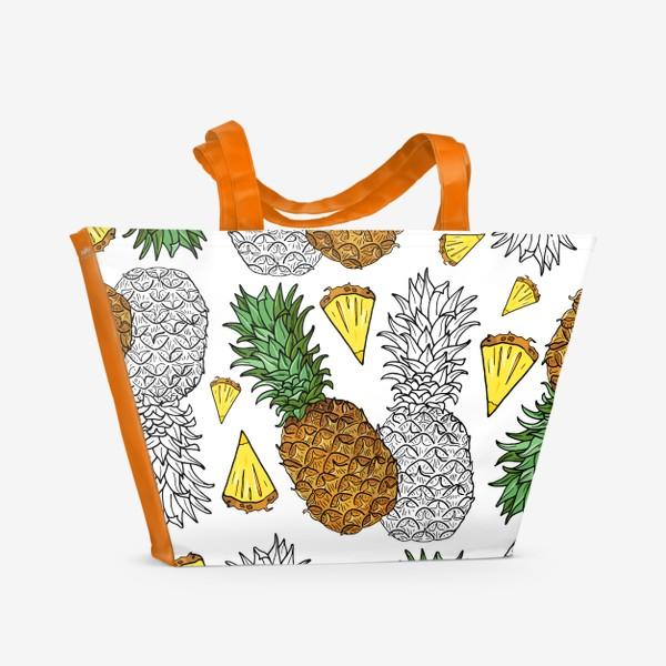 Пляжная сумка «Ананасы цветные и контур»