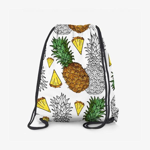 Рюкзак «Ананасы цветные и контур»