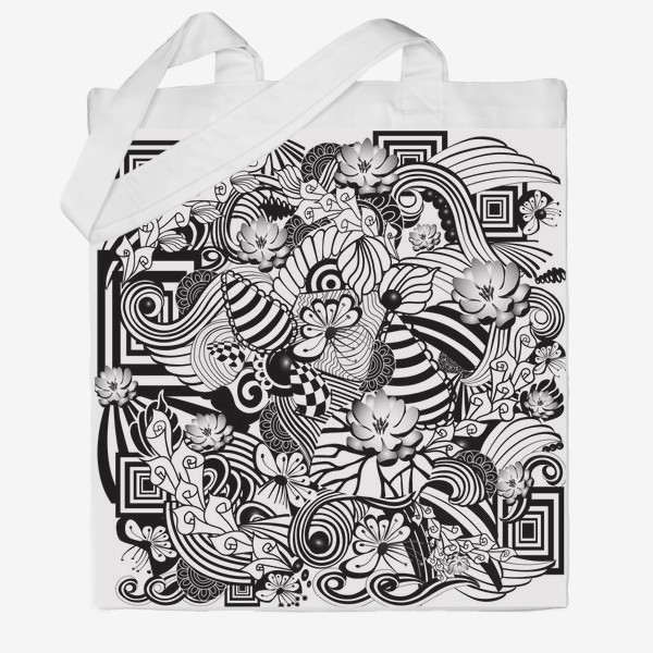 Сумка хб «Zenart Anti-stress picture flowers and figures Doodle black and white.»