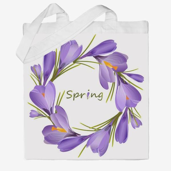 Сумка хб «Spring, a wreath of crocuses primroses.»