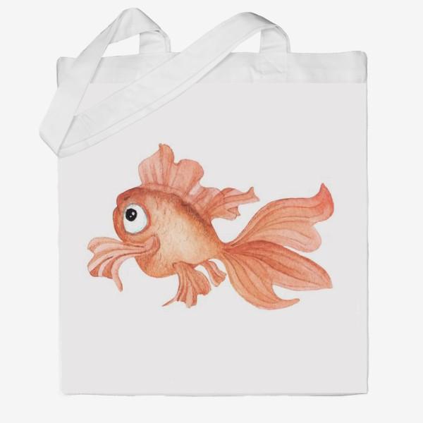 Сумка хб «Watercolor illustration. Goldfish of orange color on a white background»