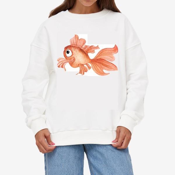 Свитшот «Watercolor illustration. Goldfish of orange color on a white background»