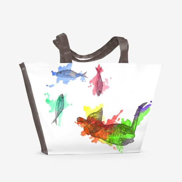 Пляжная сумка «Кот и рыбы»