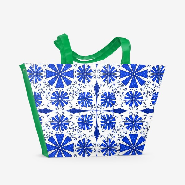 Пляжная сумка «Васильки узор »