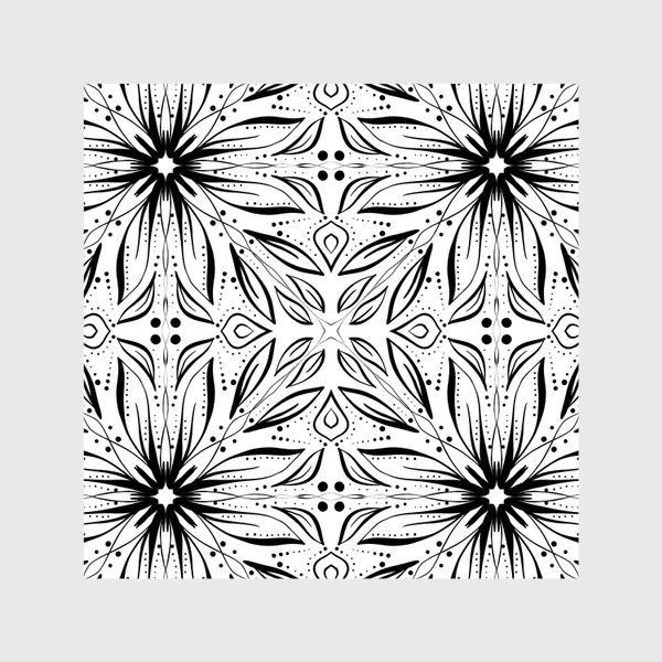 Шторы «Черно-белый узор. Цветы »