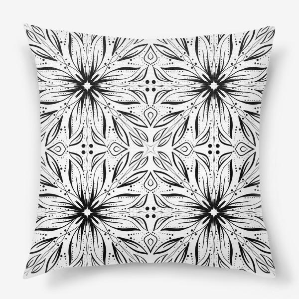 Подушка «Черно-белый узор. Цветы »