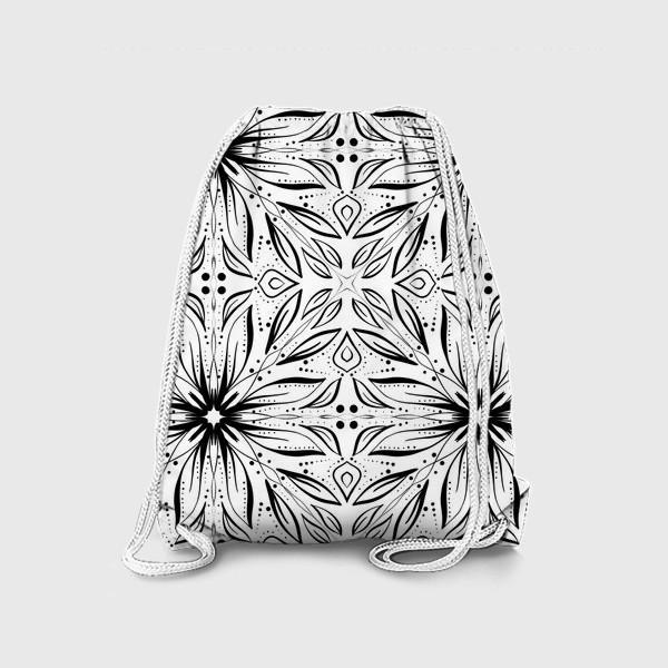 Рюкзак «Черно-белый узор. Цветы »