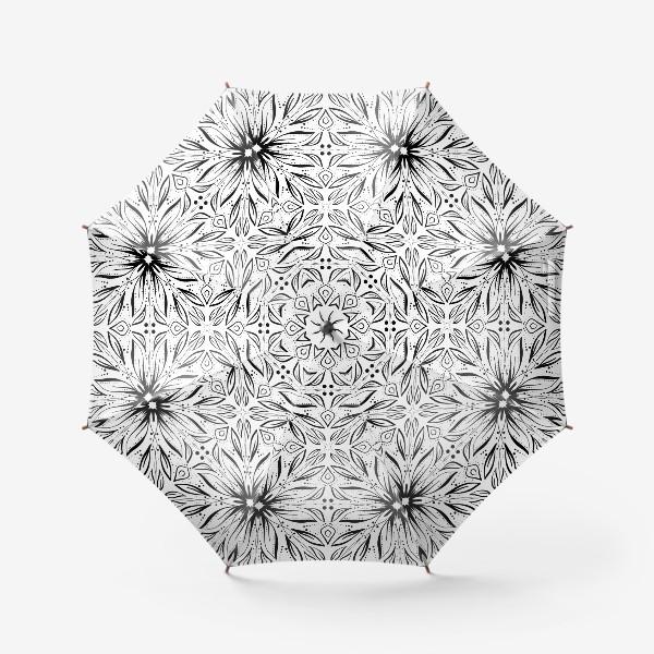 Зонт «Черно-белый узор. Цветы »