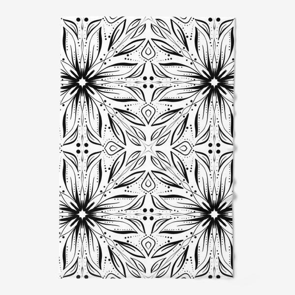 Полотенце «Черно-белый узор. Цветы »