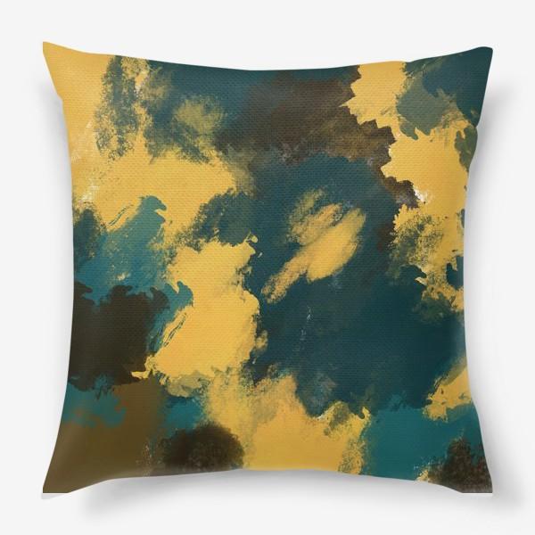 Подушка «Абстракция.Бирюзовый.Жёлтый.Коричневый.»