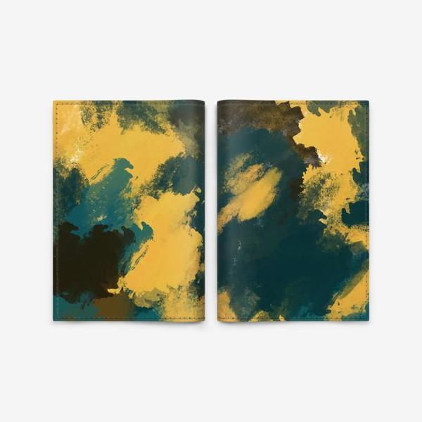 Обложка для паспорта «Абстракция.Бирюзовый.Жёлтый.Коричневый.»