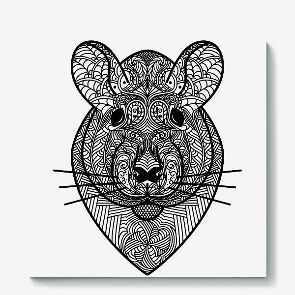 Холст «Узорчатая голова мышки или хомяка . Рисунок крысы с этническим орнаментом. Узор в стиле  дудлинг на мордочке животного»