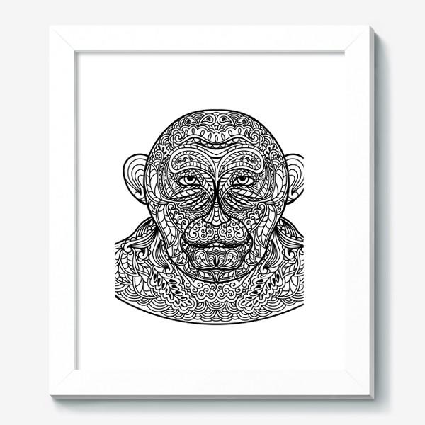 Картина «Узорчатая голова обезьяны. Рисунок мартышки с этническим орнаментом. Узор в стиле  дудлинг на морде животного»