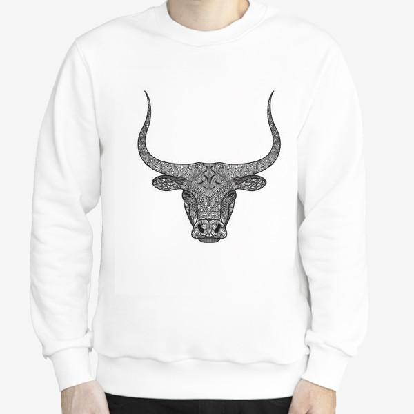 Свитшот «Бык длиннорогий. Голова быка с узором в стиле зенарт или дудлинг. Черно-белый принт.»