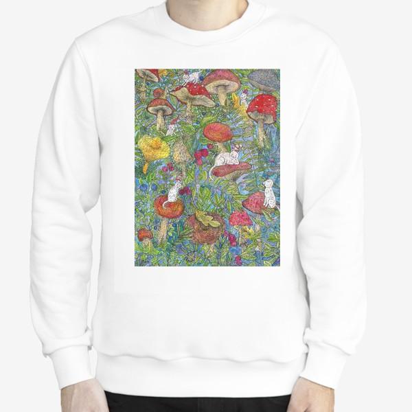 Свитшот «Лесная сказка с грибами и котами»