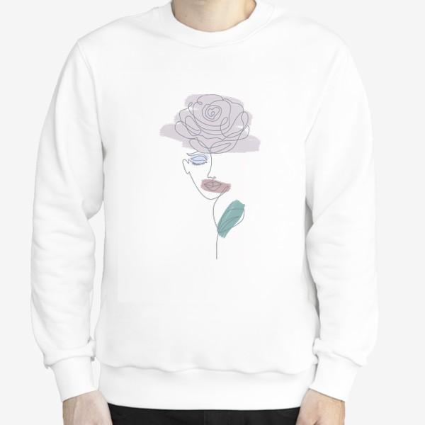 Свитшот «Девушка роза. Непрерывная линия»