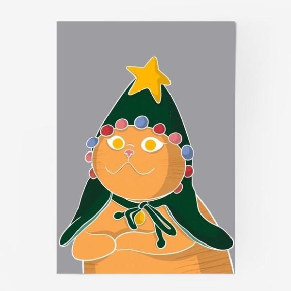 Постер «Новогодний котик»