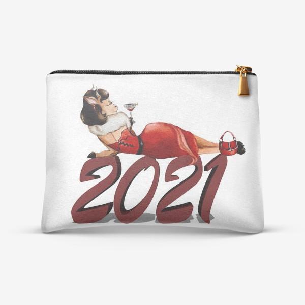 Косметичка «Бык 2021 новый год гламур фэшн девушка бык, коровка»