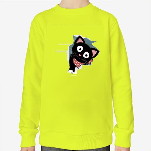 Свитшот «Мультяшный черный котенок выглядывает из разорванной бумаги»