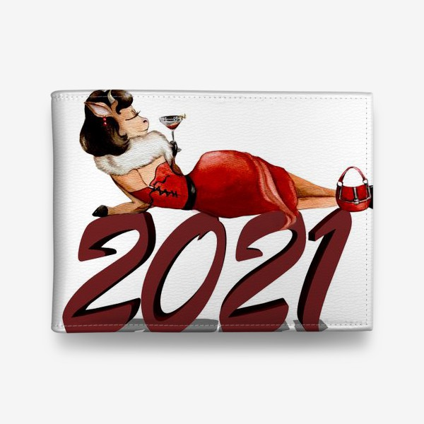 Кошелек «Бык 2021 новый год гламур фэшн девушка бык, коровка»