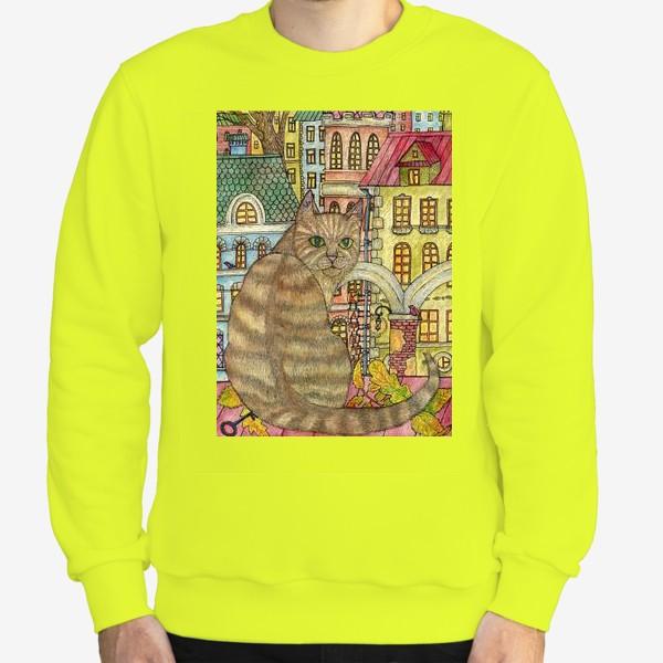 Свитшот «Кот и осень в старом городе»