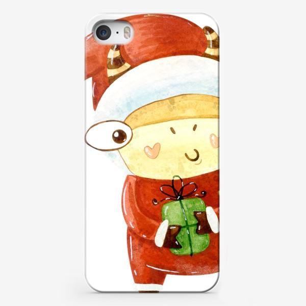 Чехол iPhone «бык дед мороз»