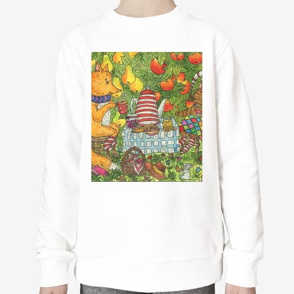 Свитшот «Лис и кот пьют чай в саду»