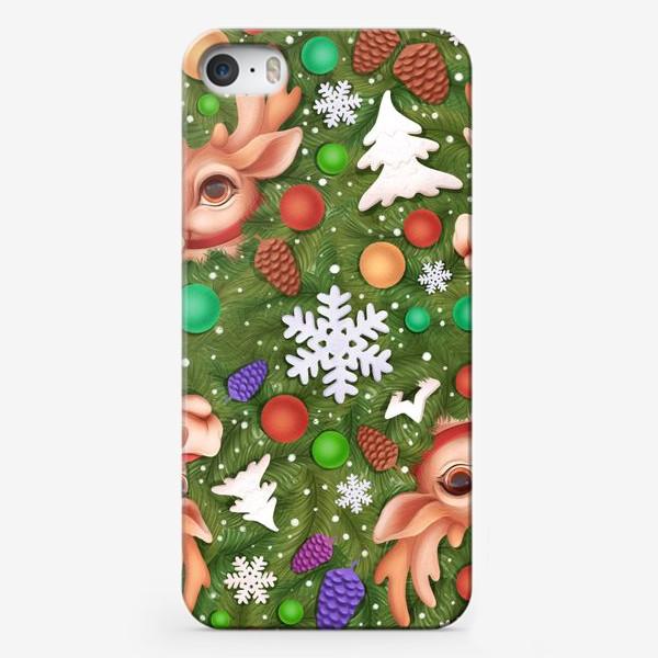 Чехол iPhone «Новогодний паттерн с оленем»