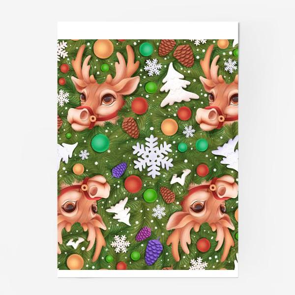 Постер «Новогодний паттерн с оленем»
