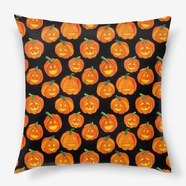 Подушка «Паттерн хеллоуиновские тыквы»