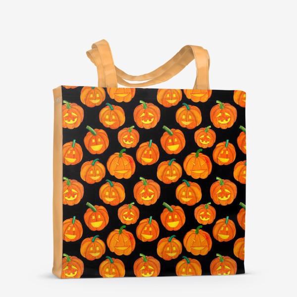 Сумка-шоппер «Паттерн хеллоуиновские тыквы»