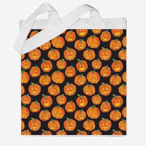 Сумка хб «Паттерн хеллоуиновские тыквы»