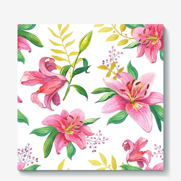 Холст «Узор с розовыми лилиями и золотой веточкой»