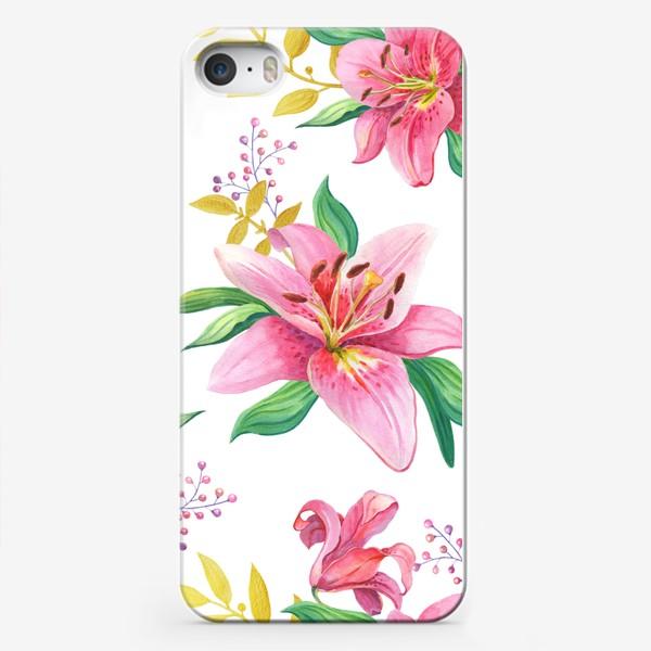 Чехол iPhone «Узор с розовыми лилиями и золотой веточкой»