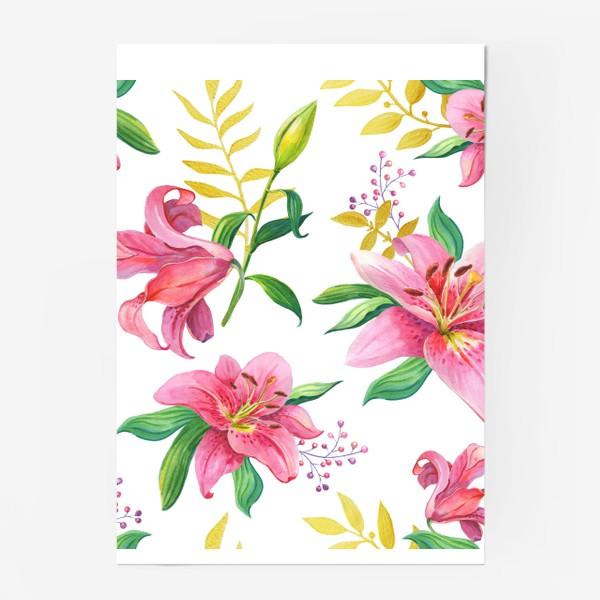 Постер «Узор с розовыми лилиями и золотой веточкой»