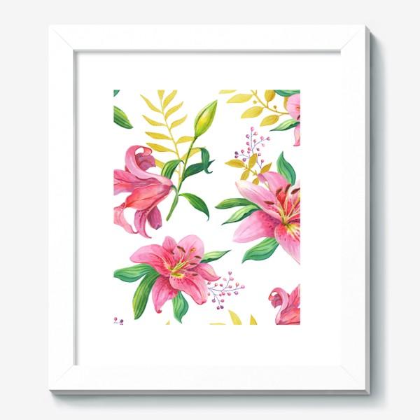 Картина «Узор с розовыми лилиями и золотой веточкой»