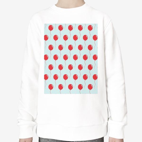 Свитшот «Красные воздушные шарики на веревке на голубом фоне»