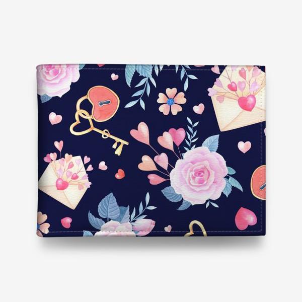 Кошелек «День влюбленных.Розы,конверт,замок с ключом на синем фоне.»