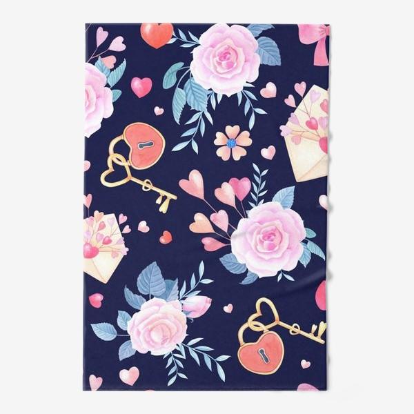 Полотенце «День влюбленных.Розы,конверт,замок с ключом на синем фоне.»