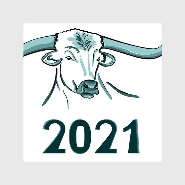 Шторы «Бык символ нового 2021 года»