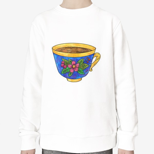 Свитшот «Синяя чашка с цветами»