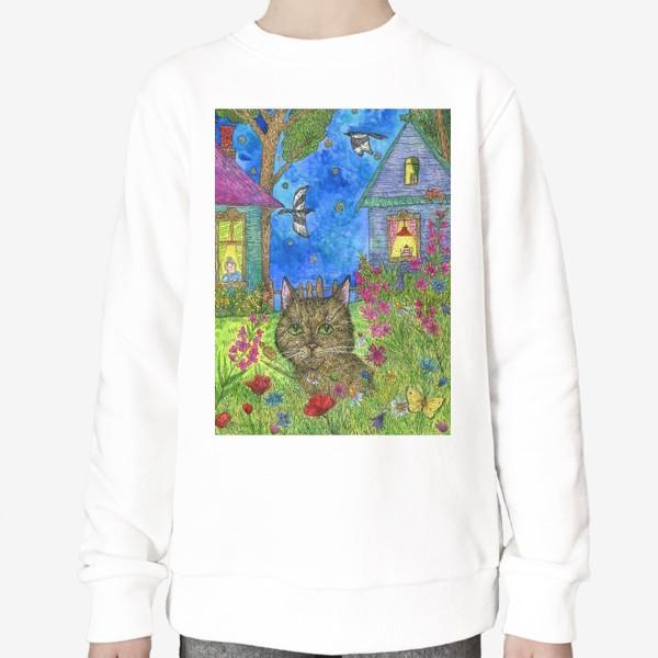 Свитшот «Вечер на даче. Кот и цветы»