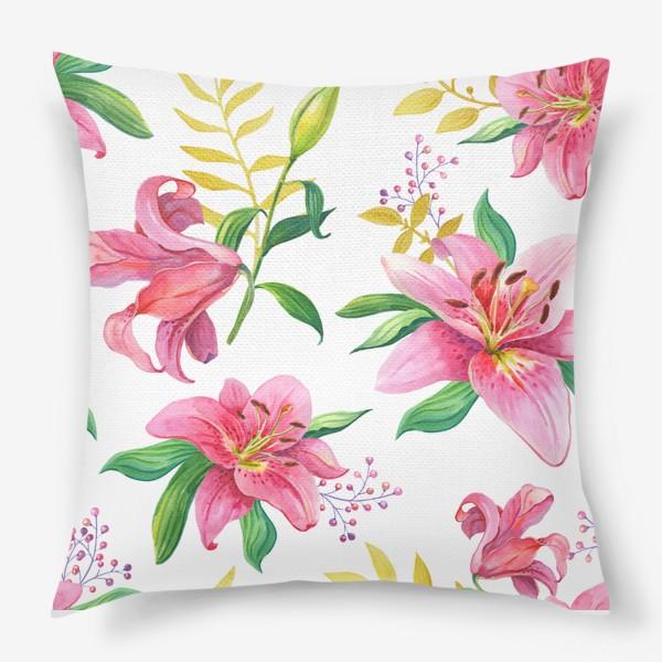 Подушка «Узор с розовыми лилиями и золотой веточкой»