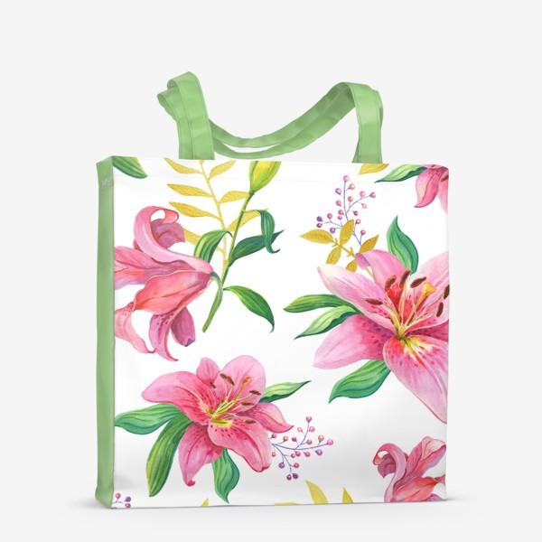 Сумка-шоппер «Узор с розовыми лилиями и золотой веточкой»