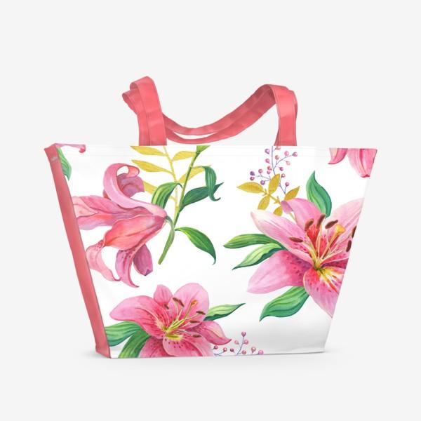 Пляжная сумка «Узор с розовыми лилиями и золотой веточкой»