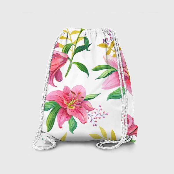 Рюкзак «Узор с розовыми лилиями и золотой веточкой»