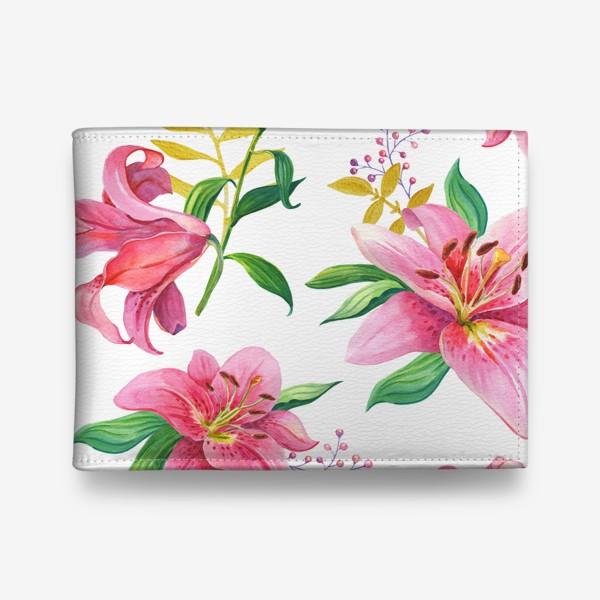 Кошелек «Узор с розовыми лилиями и золотой веточкой»